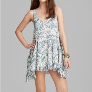 Free People Blue Floral Trapeze Tunic Dress
